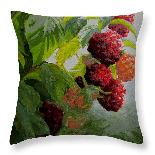 Berries Throw Pillow featuring the painting Razzleberries by Karen Ilari