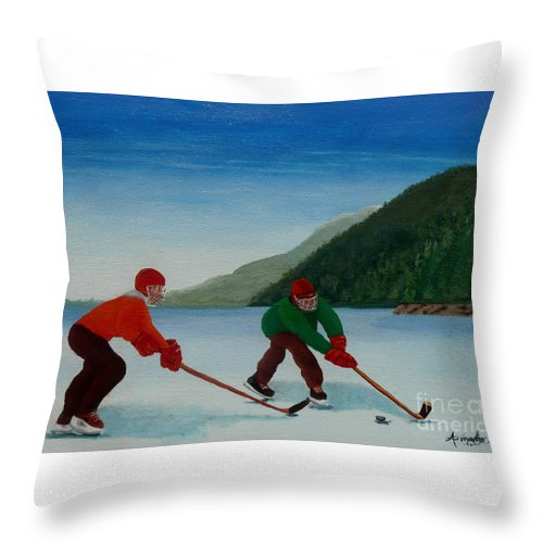 Pond Throw Pillow featuring the painting Reach For It by Anthony Dunphy