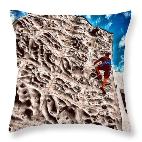 Climb Throw Pillow featuring the photograph Reaching A Climbmax by John Haldane