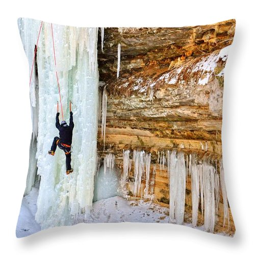 Ice Climbing Throw Pillow featuring the photograph Reaching High by Kathryn Lund Johnson