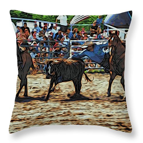 Bulldogging Throw Pillow featuring the photograph Reaching Out by Alice Gipson