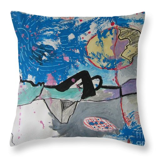 Abstract Paintings Throw Pillow featuring the painting Read My Mind2 by Seon-Jeong Kim