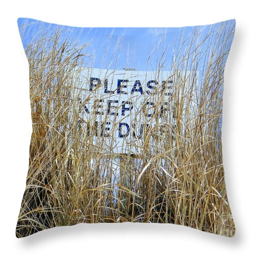 Sign Throw Pillow featuring the photograph Reading Thru The Reeds by Ed Weidman