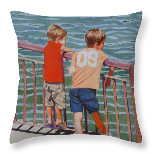 Red Throw Pillow featuring the mixed media Ready For A Dip by Constance Drescher