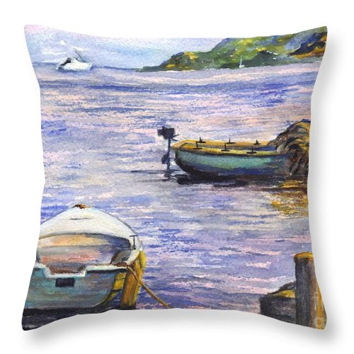 Boats Throw Pillow featuring the painting Ready For A Sunset Row by Carol Wisniewski
