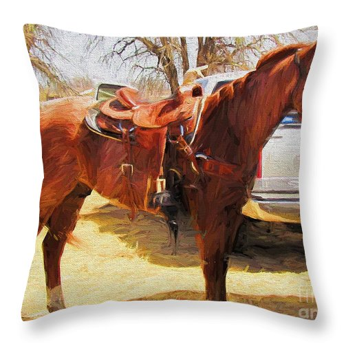 Roping Horse Throw Pillow featuring the photograph Ready For Some Ropin by Shannon Story