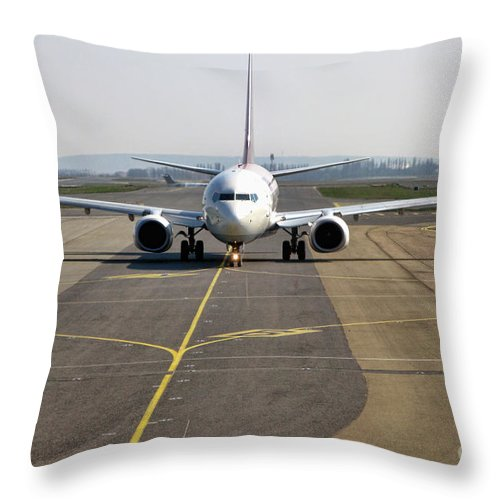 Plane Throw Pillow featuring the photograph Ready For Take Off by Olivier Le Queinec