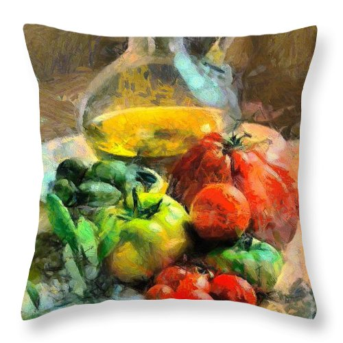 Still Life Throw Pillow featuring the painting Ready For The Italian Sauce by Dragica Micki Fortuna