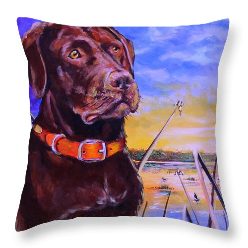 Duck Hunting Throw Pillow featuring the painting Ready For Work by Karl Wagner