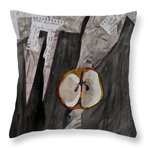Apples Throw Pillow featuring the painting Ready-set-go Triptych by Rebecca Weeks Howard