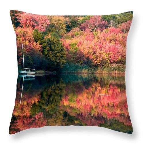 Rhode Island Fall Foliage Throw Pillow featuring the photograph Ready To Sail In The Fall Colors by Jeff Folger