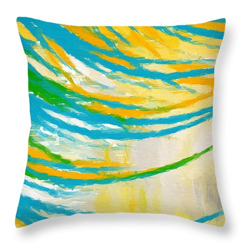 Yellow Throw Pillow featuring the painting Rebirth by Lourry Legarde