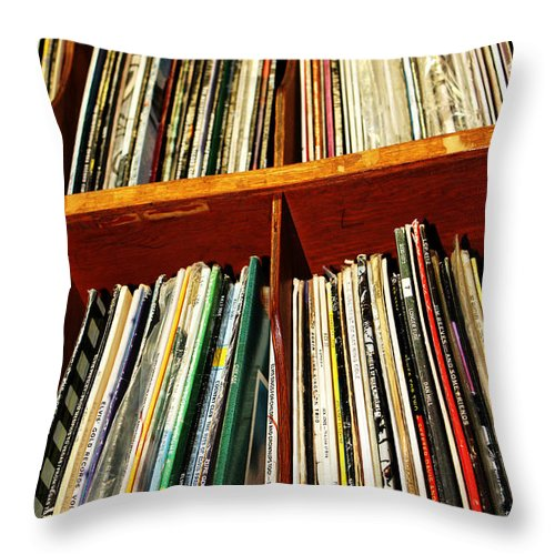 Records Throw Pillow featuring the photograph Records by Chloe Shackelton