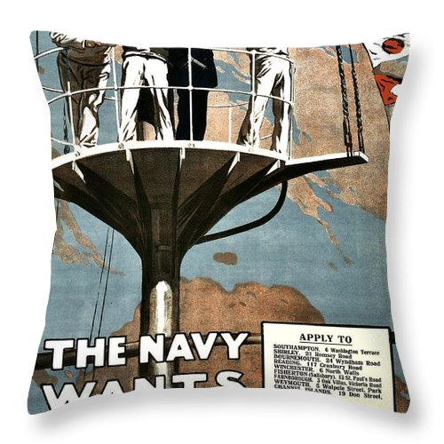 Navy Throw Pillow featuring the photograph Recruiting Poster - Britain - Navy Wants Men by Benjamin Yeager