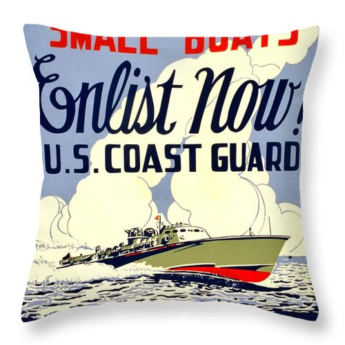 Vintage Throw Pillow featuring the photograph Recruiting Poster - Ww2 - Coast Guard by Benjamin Yeager