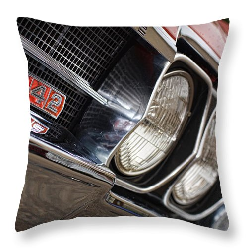 Red Throw Pillow featuring the photograph Red 1966 Olds 442 by Gordon Dean II