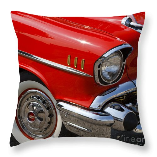1957 Chevrolet Throw Pillow featuring the photograph Red '57 by Dennis Hedberg