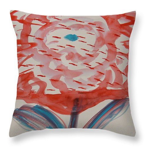 Bloom Throw Pillow featuring the painting Red And Baby Blue by Mary Carol Williams