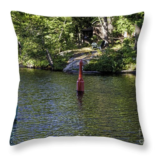 Green Throw Pillow featuring the photograph Red And Green Buoys by Les Palenik
