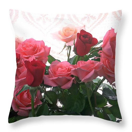 Rose Throw Pillow featuring the photograph Red And Pink Roses In Window by Garry Gay