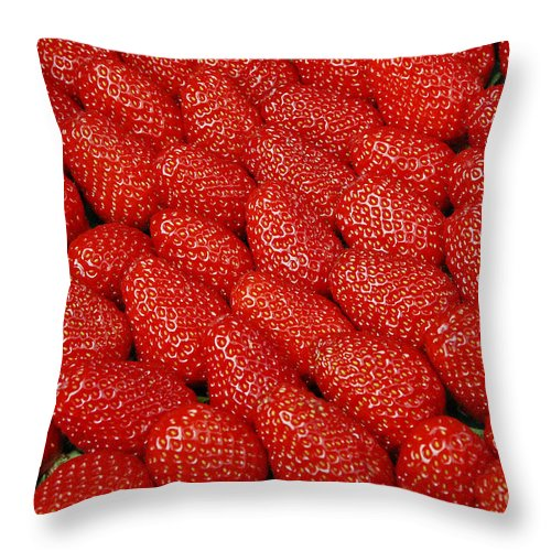 Strawberries Throw Pillow featuring the photograph Red And Ripe by Allen Beatty