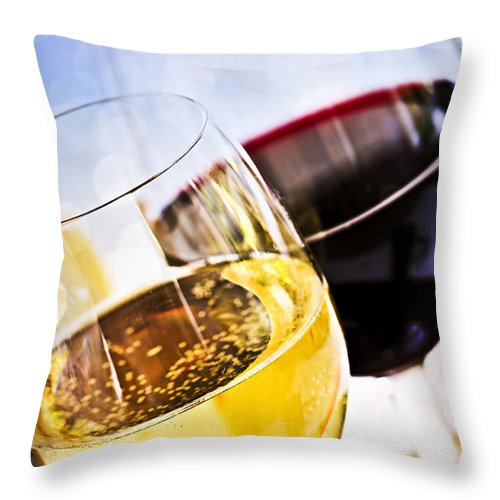 Wine Throw Pillow featuring the photograph Red And White Wine by Elena Elisseeva
