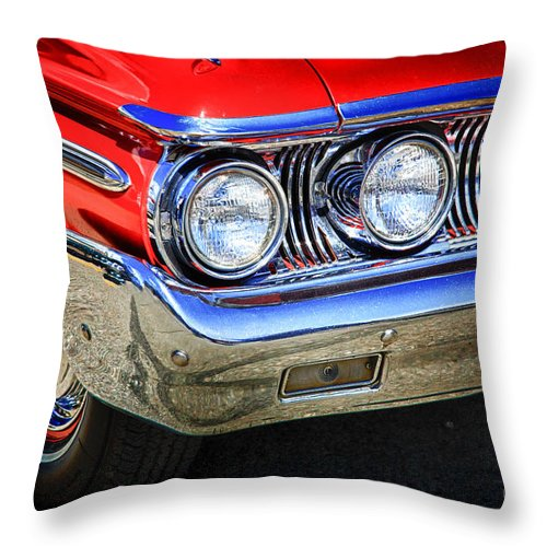 Red Throw Pillow featuring the digital art Red Antique Car by Lori Frostad