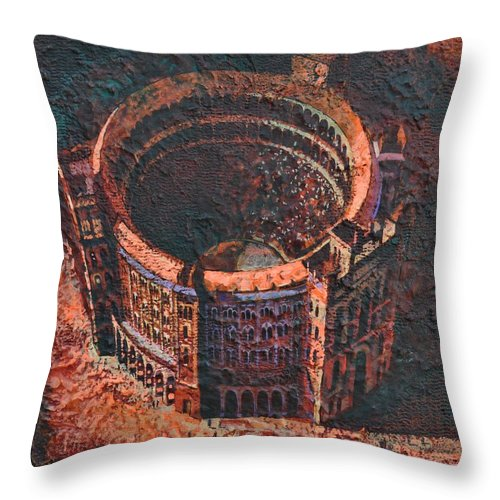 Arena Throw Pillow featuring the painting Red Arena by Mark Jones
