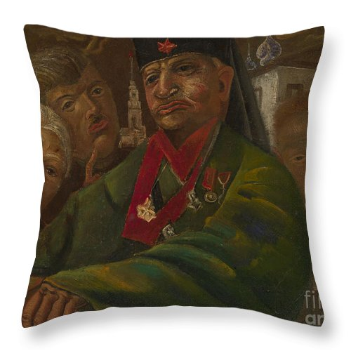 Russia Throw Pillow featuring the painting Red Army General by Celestial Images