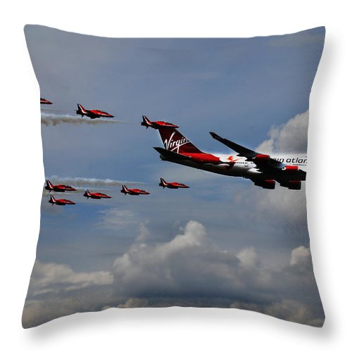 Red Arrows Throw Pillow featuring the photograph Red Arrows And Lady Penelope by Mark Rogan