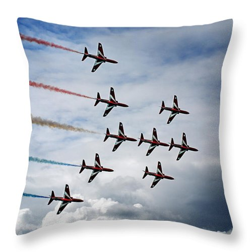 Typhoon Formation Throw Pillow featuring the photograph Red Arrows In Typhoon Formation by Mark Rogan