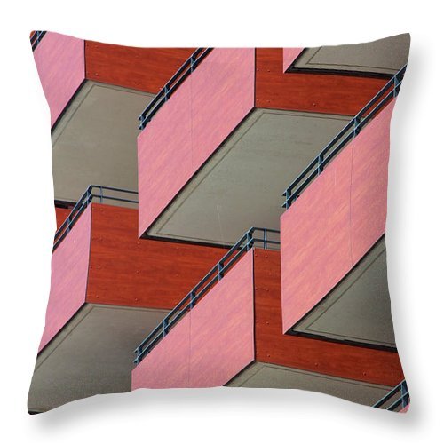 Tranquility Throw Pillow featuring the photograph Red Balconies by Jannis Werner
