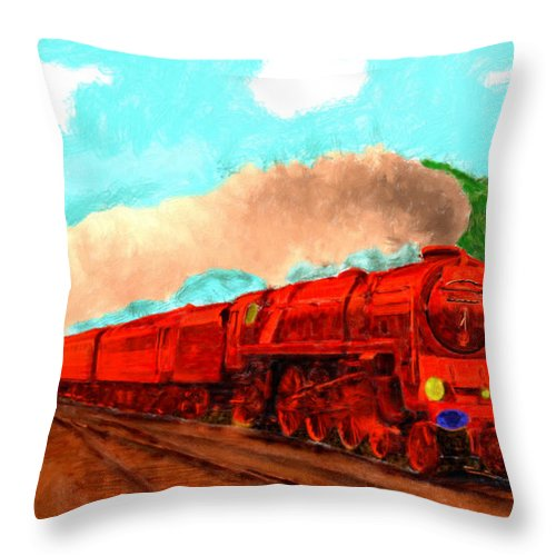 Red Throw Pillow featuring the painting Red Ball Express by Bruce Nutting
