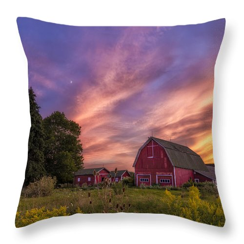 Red Barn Sunset 2 Throw Pillow featuring the photograph Red Barn Sunset 2 by Mark Papke