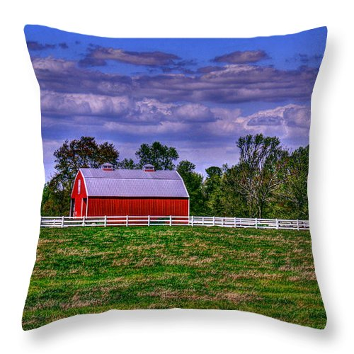 Red Throw Pillow featuring the photograph Red Barns by Andy Lawless