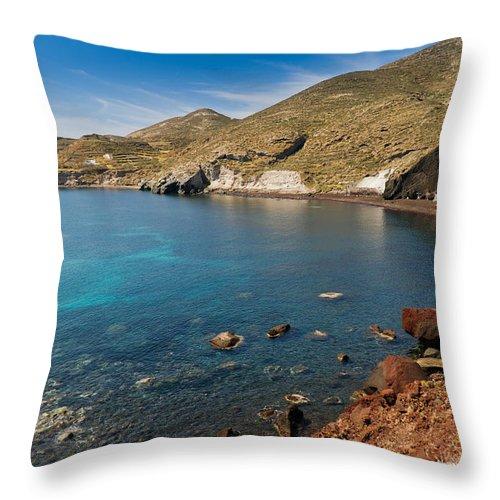 Red Beach Throw Pillow featuring the photograph Red Beach Santorini by Gary Eason