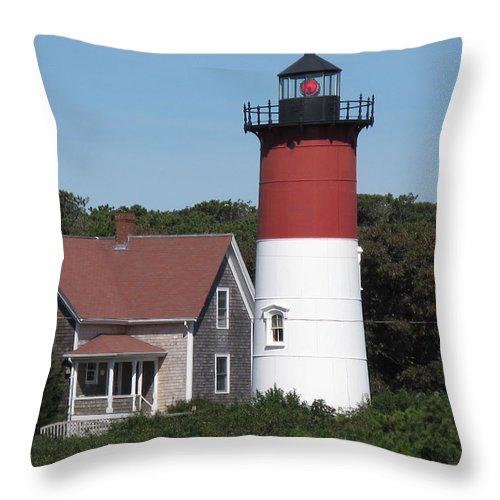 Lighthouse Throw Pillow featuring the photograph Red Beacon On Nauset Light by Barbara McDevitt
