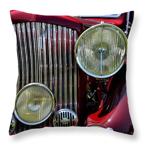 Throw Pillow featuring the photograph Red Bentley Grill by Dean Ferreira