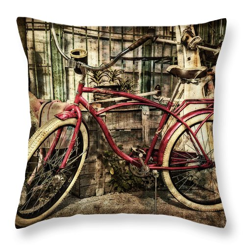 Clouds Throw Pillow featuring the photograph Red Bike by Debra and Dave Vanderlaan