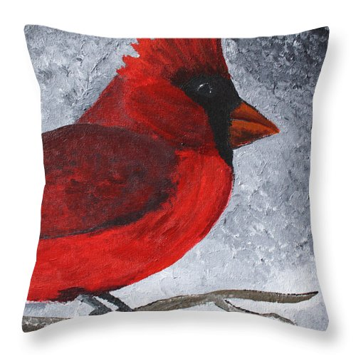 Cardinal Throw Pillow featuring the painting Red Bird by Wendy May