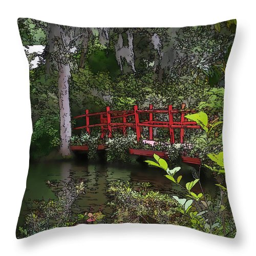 Swamp Throw Pillow featuring the photograph Red Bridge by Mary Underwood
