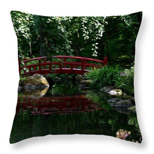 Red Bridge Throw Pillow featuring the photograph Red Bridge by Susanne Baumann