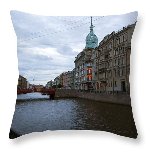 Moika River Throw Pillow featuring the photograph Red Bridge View - St. Petersburg - Russia by Madeline Ellis