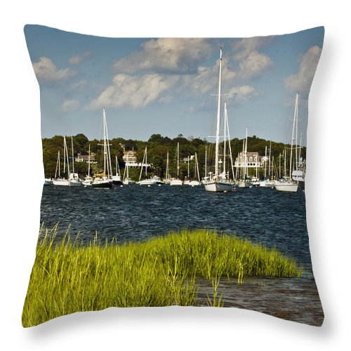 Pocasset Throw Pillow featuring the photograph Red Brook Harbor by Dennis Coates