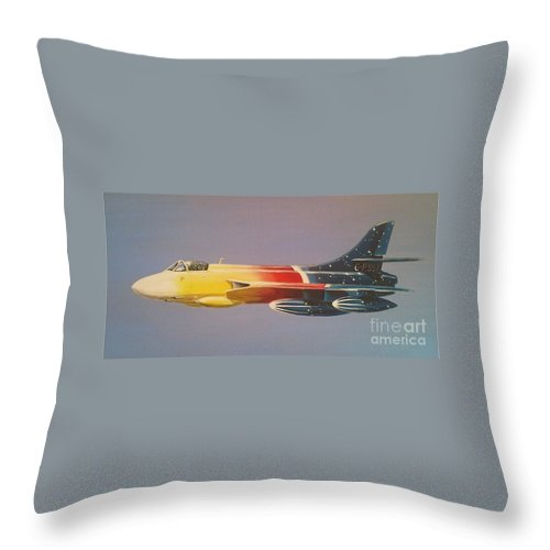 Warbird Throw Pillow featuring the painting Red Bull Hawker Hunter Miss Demeanour by Richard John Holden RA