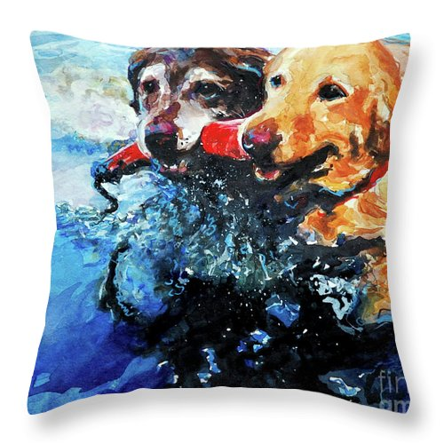 Labrador Retrievers Throw Pillow featuring the painting Red Bumper by Molly Poole