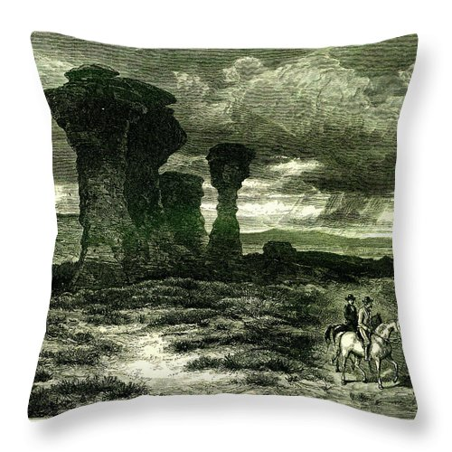 Scenics Throw Pillow featuring the digital art Red Buttes, Laramie Plains, Wyoming by Nicoolay