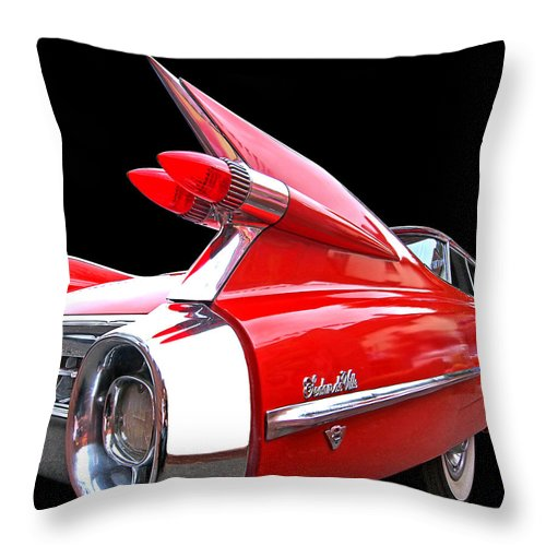 Cadillac Throw Pillow featuring the photograph Red Cadillac Sedan De Ville 1959 Tail Fins by Gill Billington