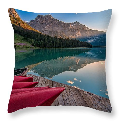 Beautiful Throw Pillow featuring the photograph Red Canoe View by James Wheeler