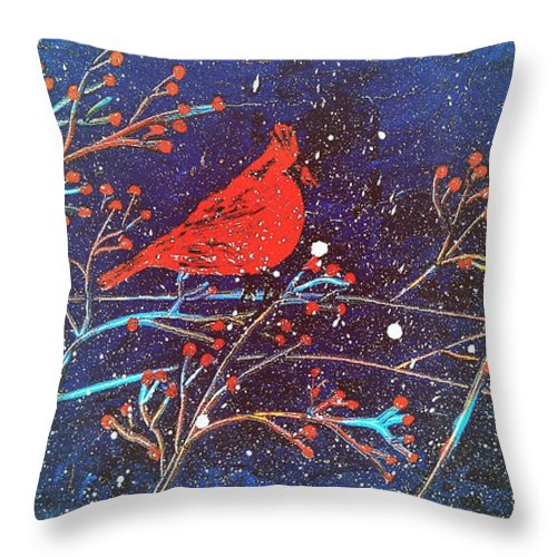 Red Cardinal Painting Throw Pillow featuring the painting Red Cardinal Bird On Branch Painting Fine Art Print by Laura Carter